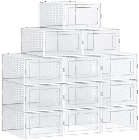 SONGMICS Shoe Boxes Pack of 12 Stackable Shoe Storage Organizers Foldable and Versatile for product image