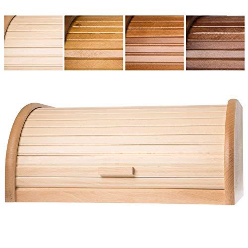 KADAX geräumiger Brotkasten aus hochqualitativem Holz, Brotbehälter mit Rolldeckel für längere frische, Brotbox mit Frontklappe, öko, Rollbrotkasten, Brotaufbewahrung (Natur)
