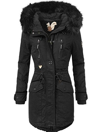 Khujo Damen Winter Mantel Winterparka YM-JA Schwarz Gr. S