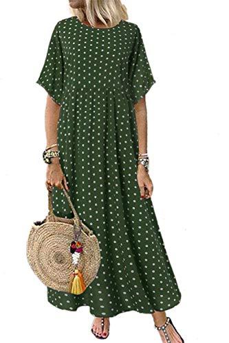 Mujeres Verano Casual Vestido Suelto Polka Dot Algodón Maxi Vestidos Talla Grande Verde 5XL