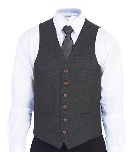 Gioberti Men's 6 Button Slim Fit Formal Herringbone Tweed Vest, Barleycorn Charcoal, X Large