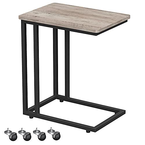 VASAGLE Beistelltisch, Sofatisch mit Rollen, C-Form, mobiler Kaffeetisch, 50 x 35 x 60 cm, Wohnzimmertisch mit Metallgestell, für Kaffee und Laptop, Industrie-Design, Greige-schwarz LNT050B02