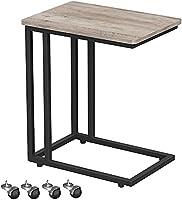 VASAGLE Bijzettafel, salontafel, eenvoudig te monteren, stabiel, salontafel op wielen, met metalen frame, industrieel...