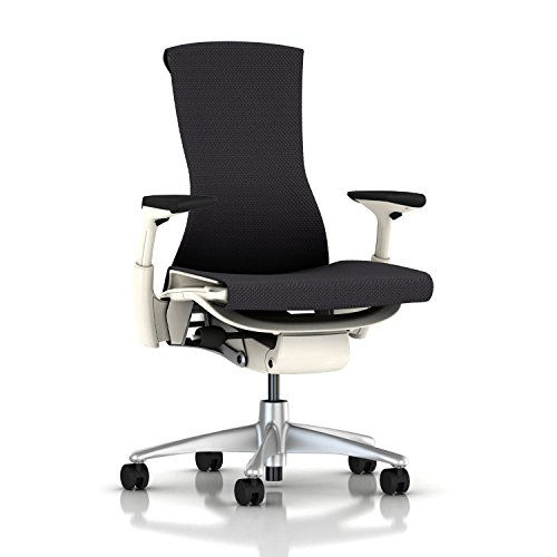 Herman Miller Embody Ergonomic Office Chair with White Frame/Titanium Base | Fully Adjustable Arms and Carpet Casters | Carbon Balance