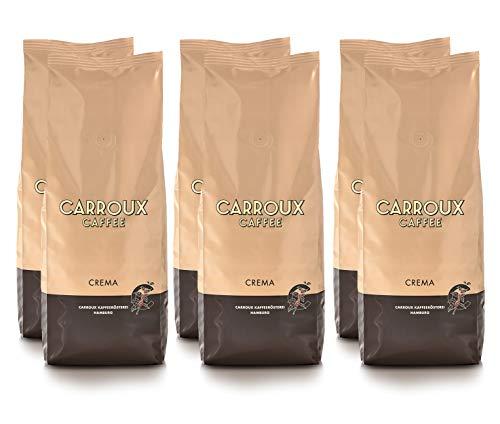 CARROUX Kaffee Crema ganze Bohnen (6x 500g). Premium Kaffeebohnen aus Hamburg. Leicht bekömmlich - Traditionell frisch geröstet