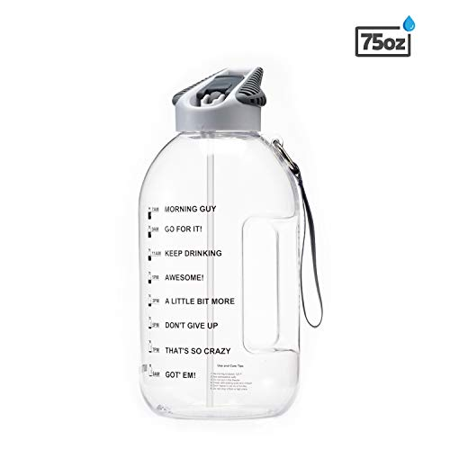 BOTTLED JOY 2.2L Water Bottle with Straw Lid, BPA Free 75oz Large Water Bottle Hydration with Motivational Time Mark Leak-Proof Drinking Half Gallon Water Bottle for Camping Workouts and Outdoor
