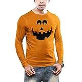 INKEEZY Men's Pumpkin Evil Smiley Face - Halloween Long Sleeves T-Shirt (Orange, Large)