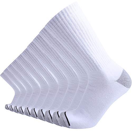Enerwear 10P Pack Men's Cotton Moisture Wicking Extra Heavy Cushion Crew Socks (10-13/shoe size 6-12 (10 Pair), White)