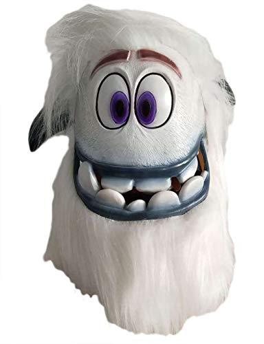 nice--buy Kleine Fuß-Migo-Maske für Cosplay, Latex-Maske für den ganzen Kopf, Weiß