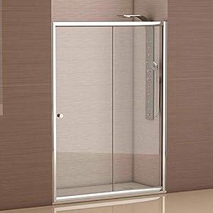 Mampara de ducha frontal 1 hoja fija + 1 hoja corredera con cristal transparente templado de seguridad de 4mm modelo Bricodomo Catalonia ANCHO 150 (Adaptable 148 a 150cm)