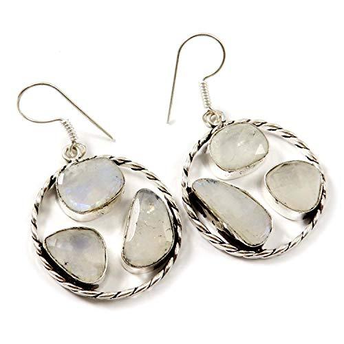 Goyal Crafts GEE97 - Pendientes de piedra lunar arcoíris natural, chapados en plata, hechos a mano
