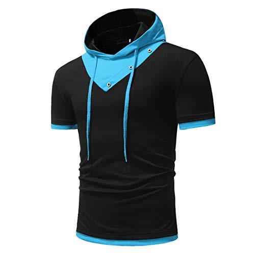 MENHG Herren Kapuze Einfache Farbe Matching Kordelzug Patchwork Kurzarm T-Shirt Hoodies Pullover Baumwolle Leinen Bequeme Slim Fit Klassisches Sweatshirt Outdoor Sporthemden Tops Hemd Polo Shirts