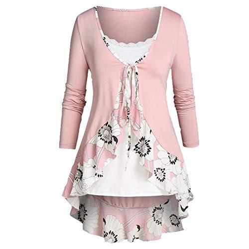 VEMOW Sommer Herbst Elegant Damen Oberteil Langarm O Neck Printed Flared Floral Beiläufig Täglich Geschäft Trainieren Tops Tunika T-Shirt Bluse Pulli(A3-Hot pink, 52 DE / 5XL CN)