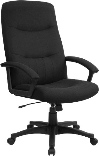 Flash Furniture High Back Black Fabric Executive Swivel Office Chair with Two Line Horizontal Stitch Back and Arms, BIFMA Certified