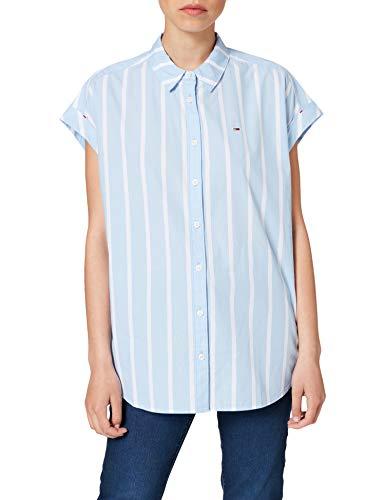 Tommy Jeans TJW Relaxed Stripe Shirt SS Camisa, Azul moderado/rayas, M para Mujer
