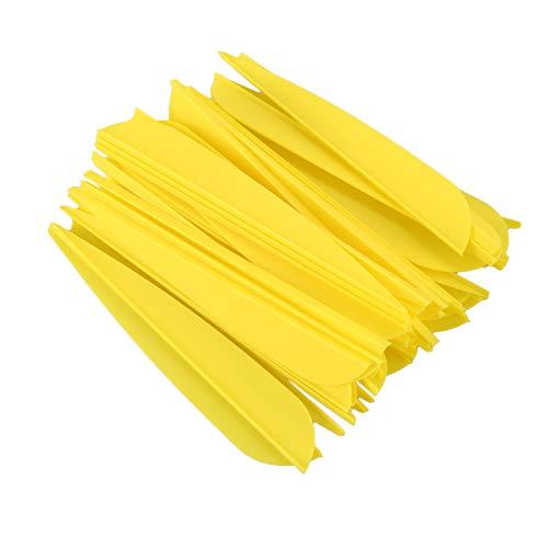 RETYLY Flechas Paletas 4 Pulgadas Cola De Flecha De Pluma De Plástico para DIY Flechas De Tiro con Arco Paquete De 50 (Amarillo)