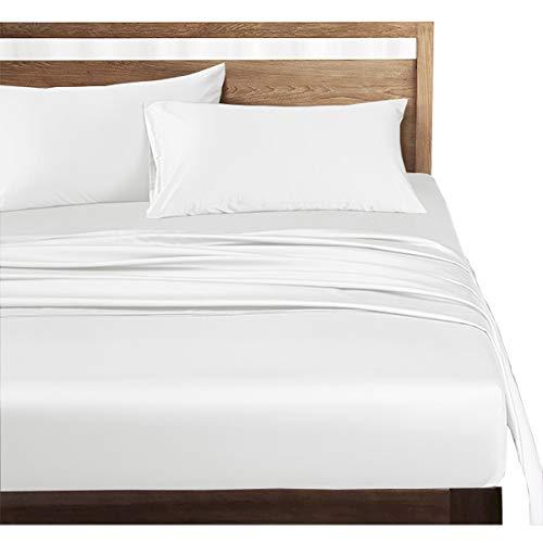 ボックスシーツ セミダブル 高?綿100% ホテル品質 シーツ ベッドシーツ サテン織り 300本高密度生地 マットレスカバー 防ダニ 抗菌 滑らか 柔らかい (ホワイト, ボックスシーツ(セミダブル-120×200×30cm))