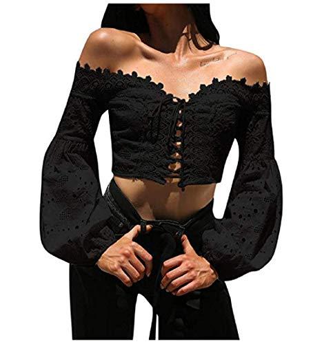 TUDUZ Pullover Tops Damen Elegant Langarm Schulterfrei Hohle Spitze Lose Bluse T-Shirt (Schwarz, S)