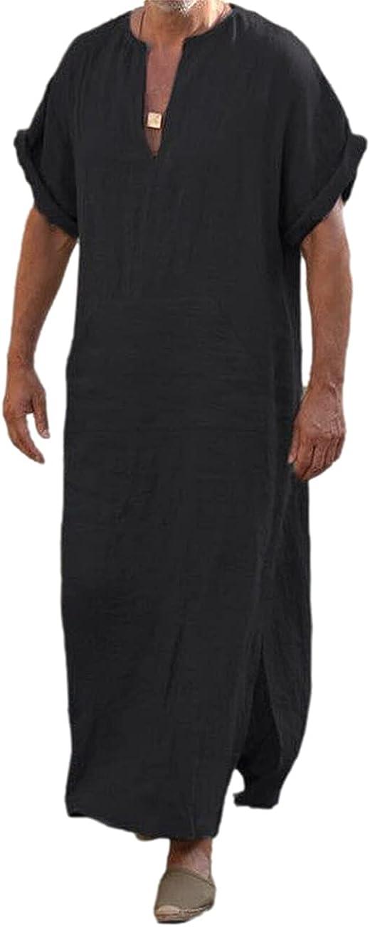 XARAZA Men's Casual Linen Robe Long Sleeve V-Neck Kaftan Abaya Thobe Long Gown