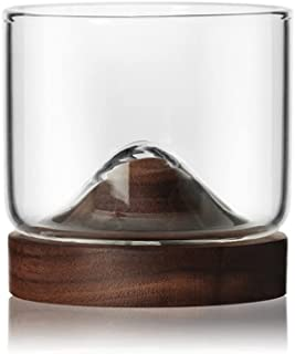 lifcasual Glass Cup,Transparent Thicken Heatproof Glass Cup,Mountain Shape Base Wooden Glass Cup,for Gift & Home & Kitchen
