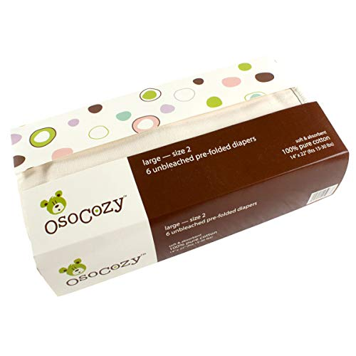 OsoCozy - Prefolds Unbleached Cloth Diapers, Size 2(15-30 lbs), 6 Count - Soft, Absorbent and Durable 100% Indian Cotton Natural Baby Diapers - Highest Quality & Best-Selling Cloth Diapers Sold Online