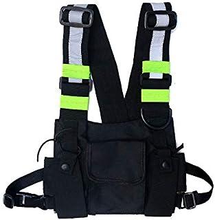 Maijia Bolsa de hombro para el pecho con múltiples bolsillos, chaleco Hip Hop Streetwear funcional táctico arnés de pecho