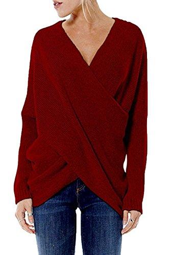 YOINS Damen Pullover Herbst Winter V-Ausschnitt Langarmshirt Batwing Strick Sweater Loose Strick Jumper Shirt Top Cross Front Rotwein EU44