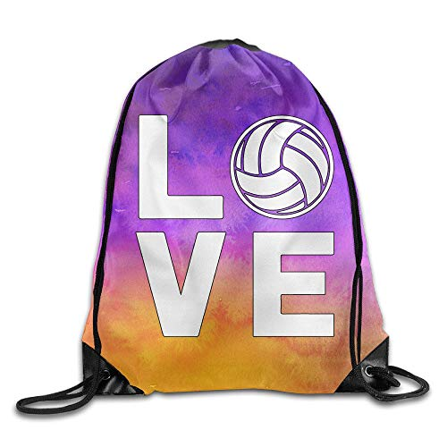 Lawenp I Love Volleyball for Volleyball Fans Sports Drawstring Backpack Bags