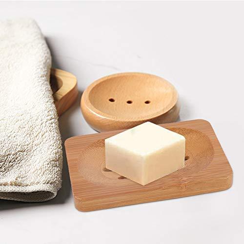 A sixx Mydelniczka z drewna, bambusowa mydelniczka mydelniczka drewniana mydelniczka bambusowa mydelniczka, blat szkoła do kuchni łazienki (7,9 * 12 cm ciemne drewno kolor)