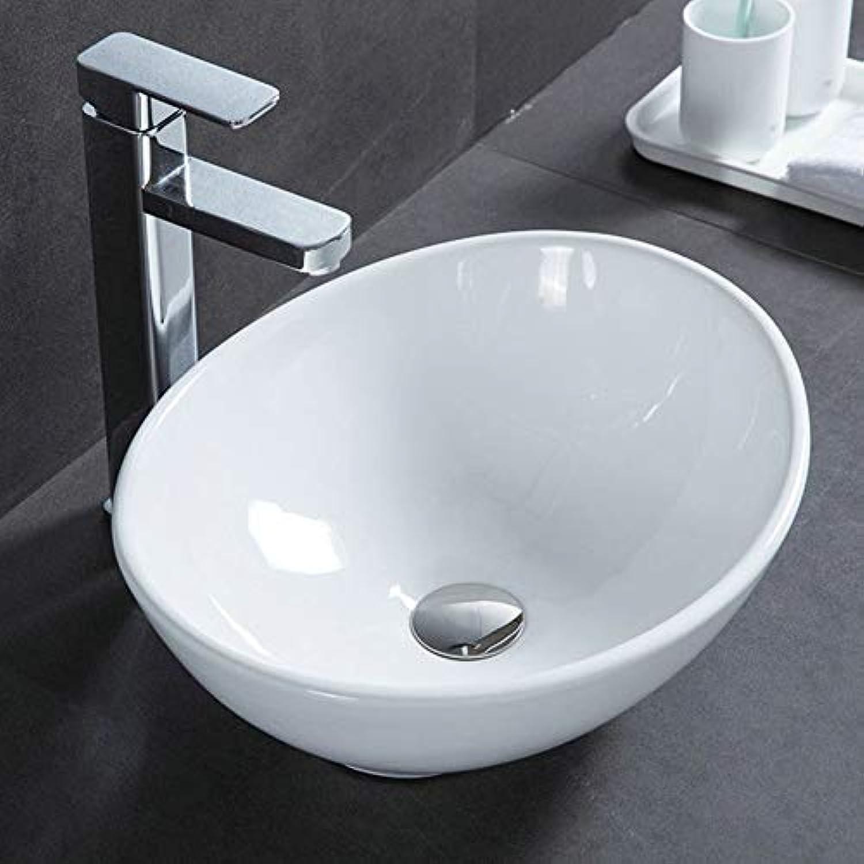 HomeLava Waschbecken Aufsatzwaschbecken mit Pop up Ablaufgarnitur Oval Geformte 41 x 34 x 14 cm, Wei