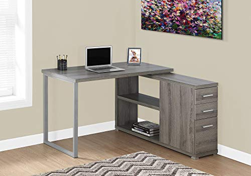 Monarch Specialties Computer L-Shaped-Left or Right Set Up-Contemporary Style Corner Desk with Open Shelves and Drawers, 48