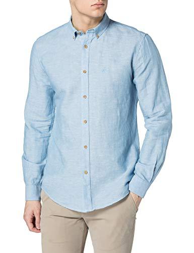 Springfield Camisa Lino, Azul Medio, L para Hombre