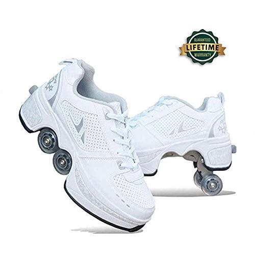 YPYGYB Inline-Skate, 2-in-1-Mehrzweckschuhe, Verstellbare Quad-Rollschuh-Stiefel Outdoor Sportschuhe,White-36
