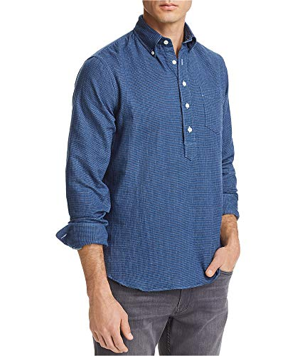 Oobe Brand Mens Gingham Button Up Shirt, Blue, Large