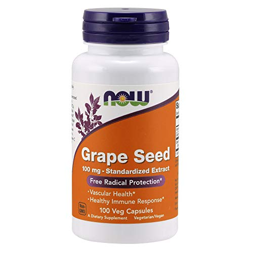 NOW Supplements Grape Seed 100 mg  Standardized Extract Highly Concentrated Extract with a Minimum of 90% Polyphenols with Vitamin C 100 Veg Capsules