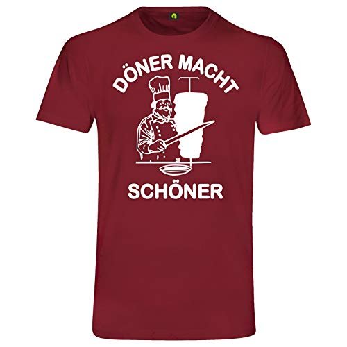 Döner Macht Schöner T-Shirt | Kebap | Dürüm | Lahmacun | Helal | Pizza | Adana Bordeaux Rot S