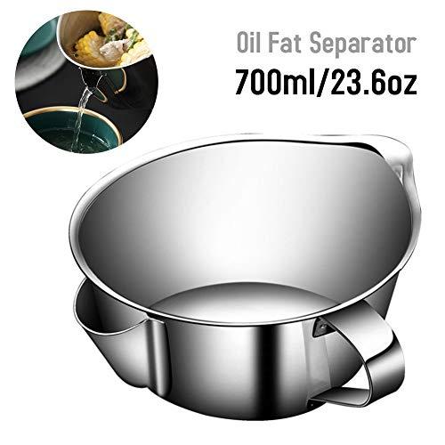 Edelstahl-Ölfilter-Suppenschüssel, Öl-Fett-Abscheider, 700 ml Mehrzweckgebrauchs-Küchenölsuppen-Siebbecher mit Griff für Soße