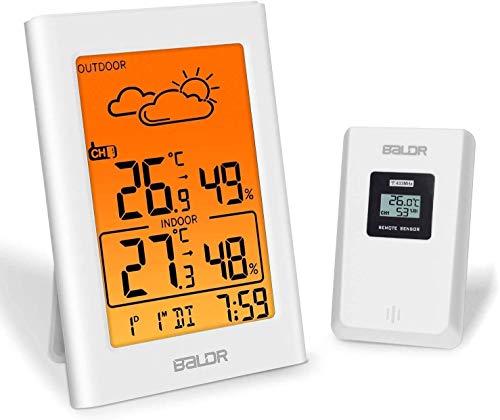 BALDR Wetterstation Funk mit Außensensor, Digital Thermometer Hygrometer Innen und Außen Raumthermometer Hydrometer Feuchtigkeit mit Wettervorhersage, Uhrzeitanzeige, Wecker (Weiß-Orange)