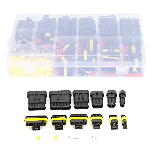 Kit de Terminales Eléctricos de Conector de Cable de Coche de 708 Piezas Enchufe de Cobre Impermeable para Coche 1/2/3/4/5/6 Orificio Adecuado para Motocicletas Scooters Camiones