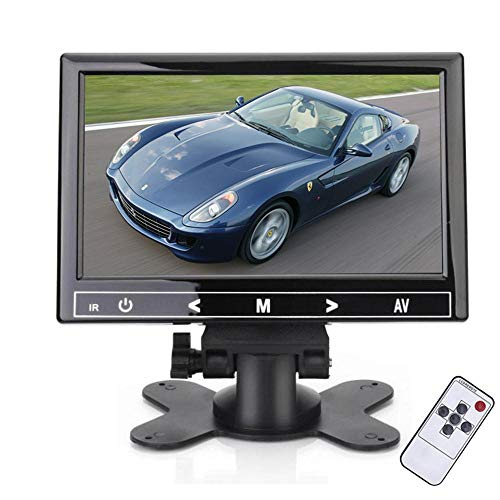 Monitor 7 Pollici, Monitor per Videosorveglianza, Full HD 1024 * 600 Monitor TFT LCD Mini Monitor con HDMI/VGA/AV/Audio Ports Input Car PC Monitor for Rear View, Home Security CCTV