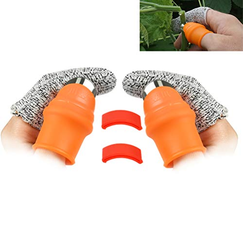 OFNMY 2-Pack Garden Silicone Thumb Knife Separator Finger Knife Harvesting Plant Knife Plant Gardening Gifts Trim Garden Vegetable Gardening Tools(Large Silicone Thumb Knife)