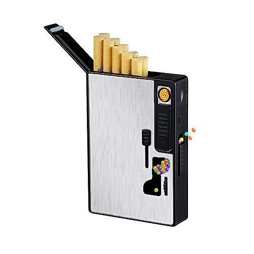 Caja de Cigarrillos con Encendedor eléctrico USB Recargable, dispensador de Bolas de crushball, pulsadores de Cuentas de explosión, Filtro de Cigarrillos de cápsula de mentol para Bricolaje (Plata)