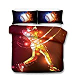 AMCYT Juego de 2 piezas, la serie de béisbol de tres piezas de ropa de cama transpirable de microfibra juego de ropa de cama cómodo suave edredón y almohada fundas cremallera Easy Care, 2, 220*260