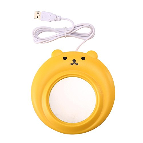 Coffee Mug Warmer, Desktop Tea Cafe Milk Soup Espresso Cocoa Chocolate Hot Beverage Heated Keep Cup Warm, USB Powered for Home/Office/Travel Use- Bear Model (Yellow)
