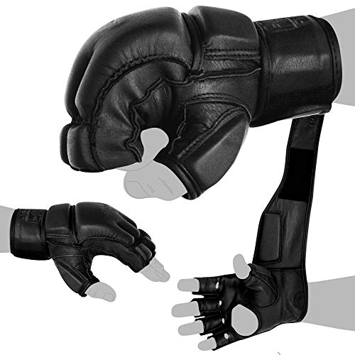 FOX-FIGHT Legend MMA Handschuhe professionelle hochwertige Qualität echtes Leder Boxhandschuhe Sandsack Training Grappling Sparring Kickbox Freefight Kampfsport BJJ Gloves schwarz, L