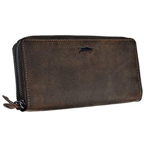 Ven Tomy Geldbörse Damen Herren groß viele Fächer Leder Portemonnaie Geldbörsen Portmonee braun RFID Blocker (L11 / Dunkelbraun)
