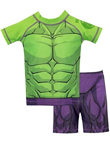 costume carnevale hulk Marvel Costume da Bagno per Ragazzi a Due Pezzi L'incredibile Hulk Verde 3-4 Anni