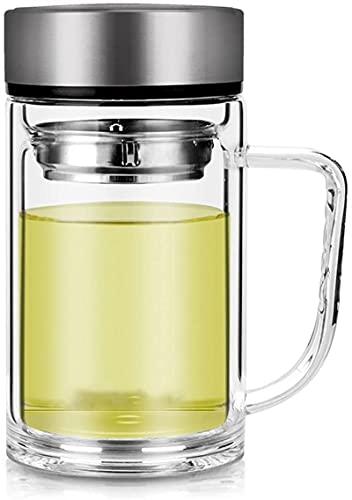 Copa de agua creativa para el viaje en casa Taza Taza de café Vidrio de doble capa con una taza de oficina de la manija,taza de bebida del hogar,taza de té de gran capacidad con tapa personal de taza