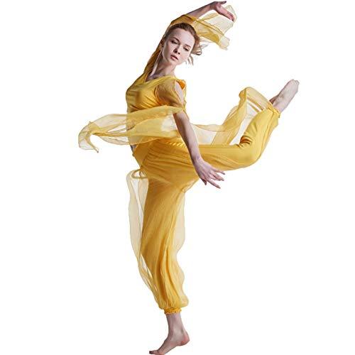 Yoga kleding pak, V-hals sexy tule lange mouwen T-shirt chiffon elegante harem broek,Groep outdoor prestaties Lyric ballet buik dans gymnastiek carnaval kostuum