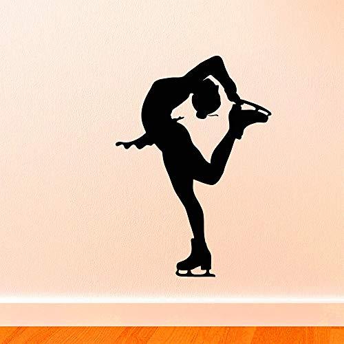 yaonuli Schlankes Skaten nach Hause Wandtattoo Mädchen Skaten Silhouette Wandaufkleber Vinyl Wandbild 52X50cm